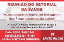 PT Santo André promove reunião extraordinária sobre o fechamento das unidades de Saúde nesta quarta (23)