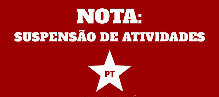 NOTA: SUSPENSÃO DE ATIVIDADES