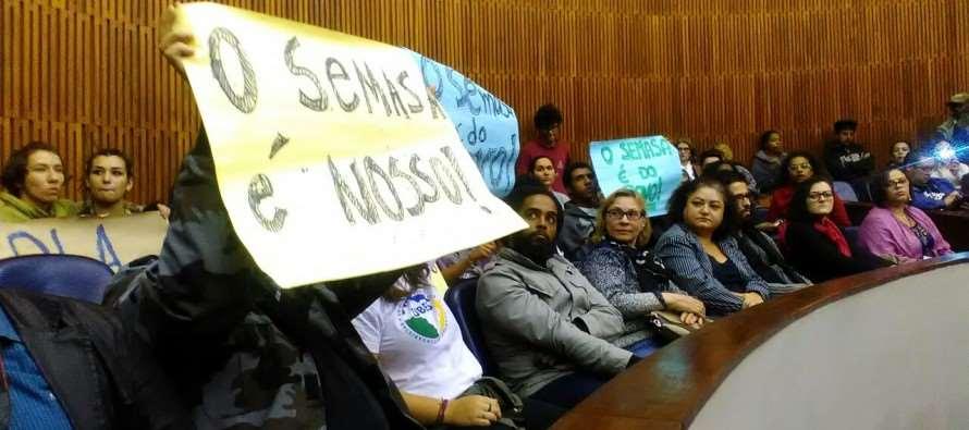 Câmara de Santo André é palco de ato contra privatizações e mudanças propostas pelo governo Paulo Serra (PSDB) no Semasa