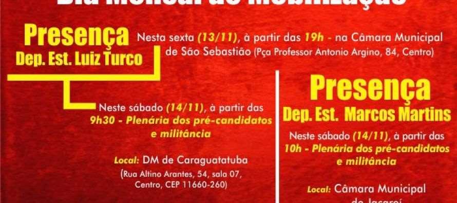 #DiadeMobilizaçãoPTSP: Macro Vale do Paraíba – Luiz Turco e Marcos Martins participam do #DiadeMobilizaçãoPTSP nesta sexta (13) e sábado (14)