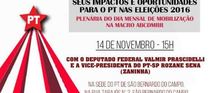 #DiadeMobilizaçãoPTSP: Macro ABC convida para plenária de Valmir Prascidelli e Zaninha neste sábado(14)