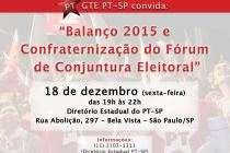 #FórumDeConjuntura: PT-SP apresenta Prestação de Contas 2015 do Fórum de Conjuntura Eleitoral