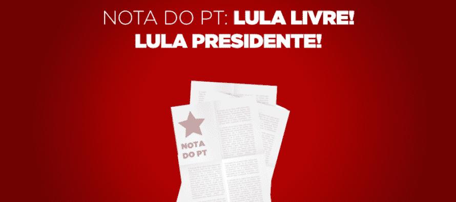 Nota Oficial: Lula livre! Lula presidente!